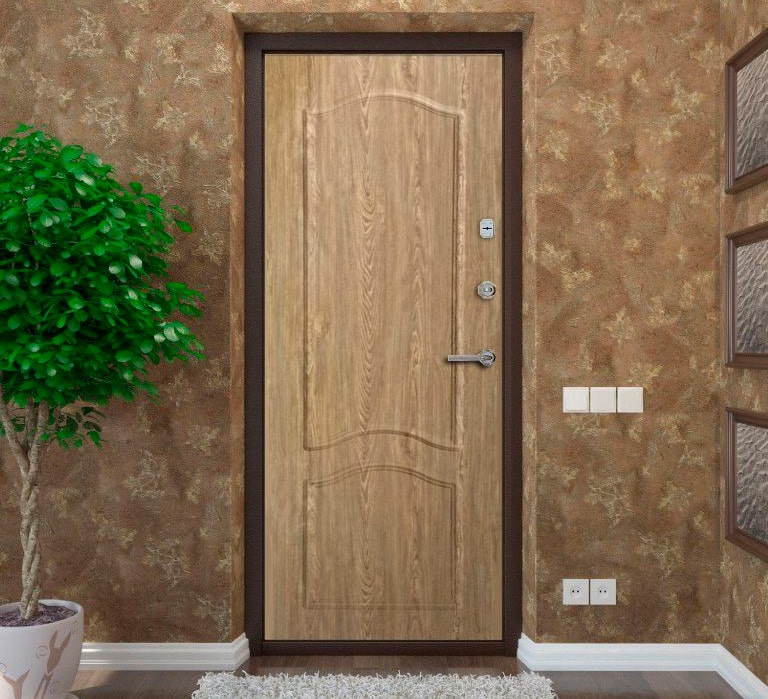 Установка МДФ панелей и ламинат на металлическую дверь.